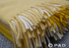 Plaid Field geel franjes