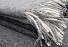 Plaid Field grey franjes