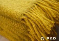 Plaid Gotland mosterd geel franjes