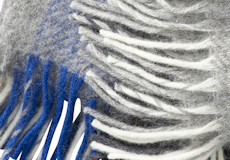 Plaid Gute grey blue franjes