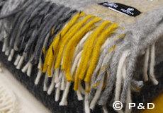 Plaid Gute grey yellow franjes