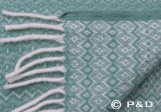 Plaid Hekla arctic green franjes