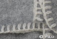 Plaid Soft wool light grey franjes