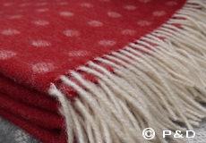 Plaid Spot rood franjes