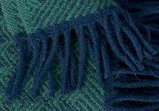 Plaid Tage dark blue franjes
