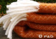 Plaid Vega oranje franjes